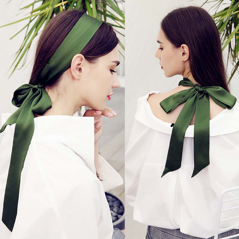 NEW Pure Silk Scarf For Women Long Neck Hair Scarf Bag Strap Small Neck Scarves Fashion Elegant Belt Tie Handbag Scarf 4.5X200cm