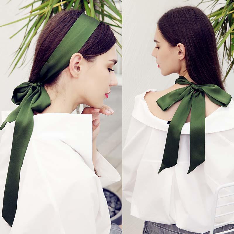 NEW Pure Silk Scarf For Women Long Neck Hair Scarf Bag Strap Small Neck Scarves Fashion Elegant Belt Tie Handbag Scarf 4.5X200cm