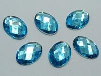 100 Blue Flatback Acrylic Rhinestone Oval Gems 13X18mm No Hole