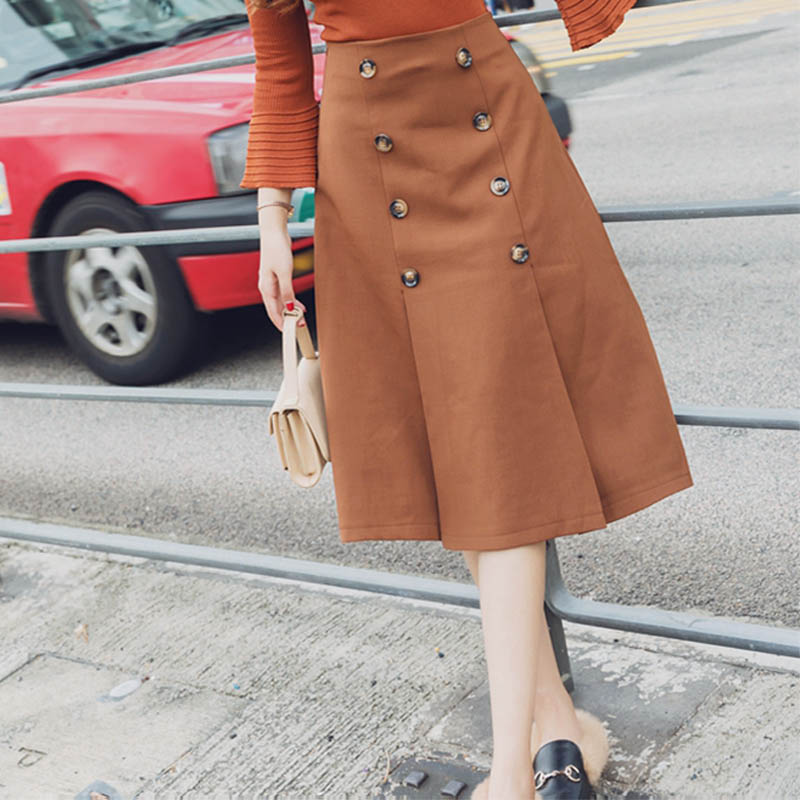 MCCKLE Spring Women Skirts 2018 New Vintage Double Breasted Skirts Elegant Solid Office Button A Line Women Knee-Length Skirts