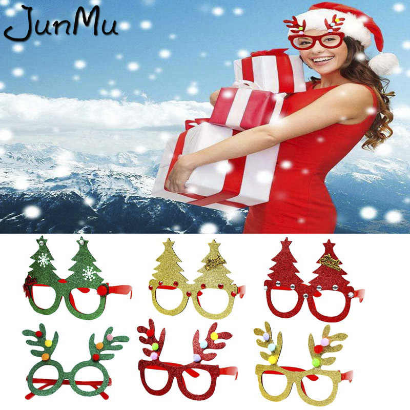 6 Style Antlers Christmas Glasses Party Christmas Decoration Supplies Glasses Funny Christmas Tree Decor Deer Ornaments