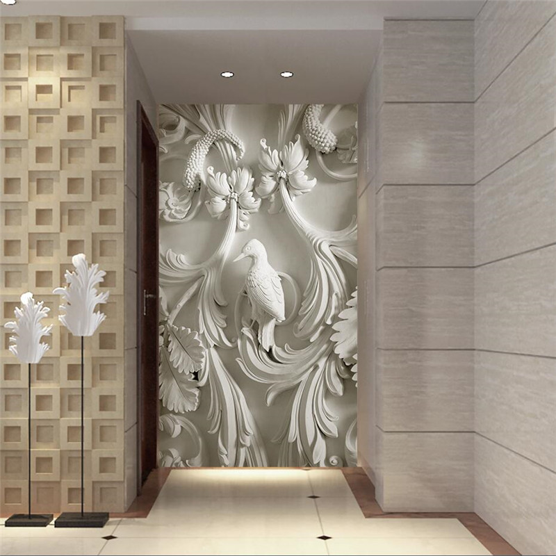 beibehang wall paper 3d art mural hd european classic embossed flowers covering home decor. Black Bedroom Furniture Sets. Home Design Ideas