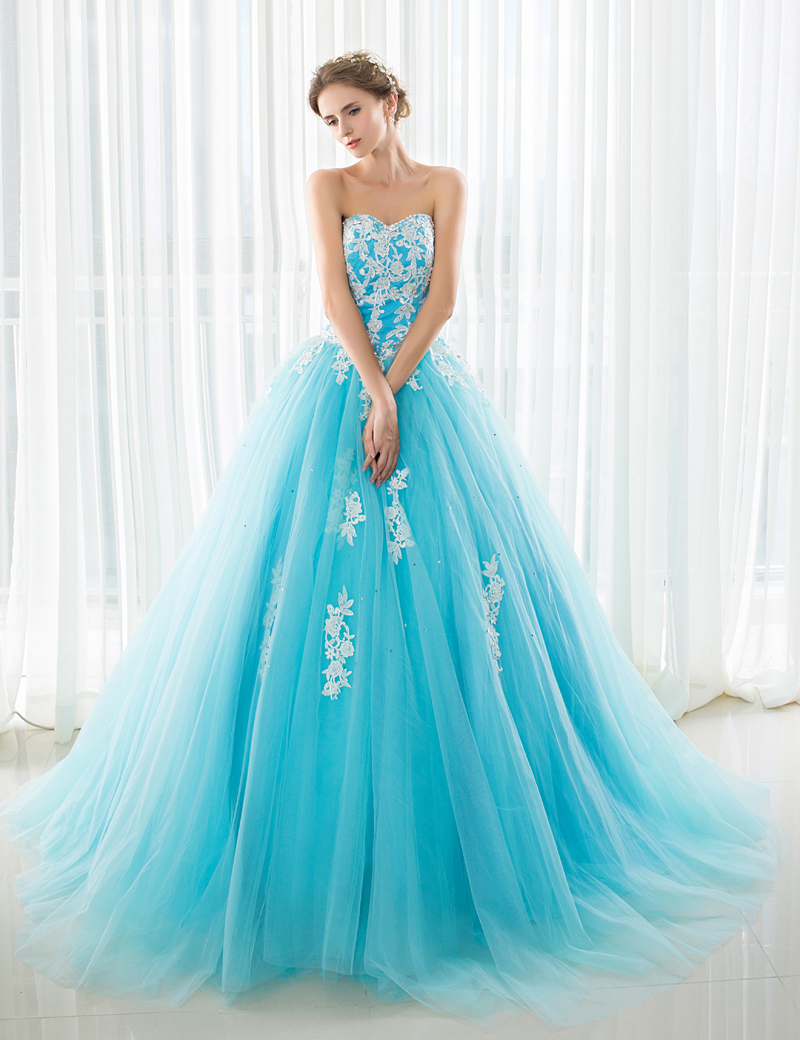 iLoveWedding Blue Wedding Dresses with Royal Train Off the Shoulder ...