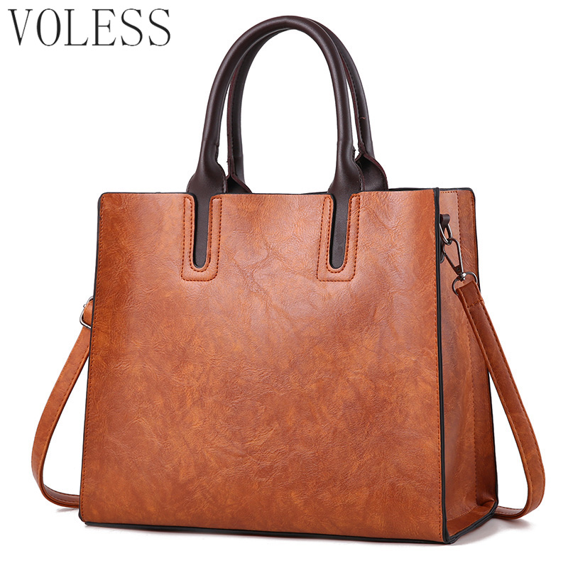 High Quality Oil Pu Leather Women Handbags Famous Brand Large Capacity Women Casual tote bags Fashio Crossbody For Women sac large capacity women casual tote bags high quality pu leather handbag shoulder bags famous brand crossbody bag for women sac