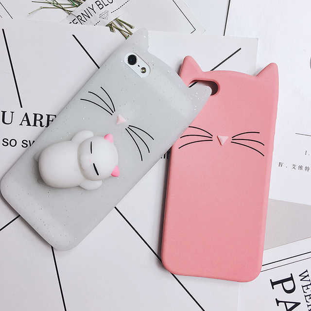 17e846972b 3D Cute Squishy Bear Seal Phone Case For iPhone 7 8 Plus X Case Cartoon  Animal Cat Ear Silicone Case For LG k4 k8 k10 2017 Cover