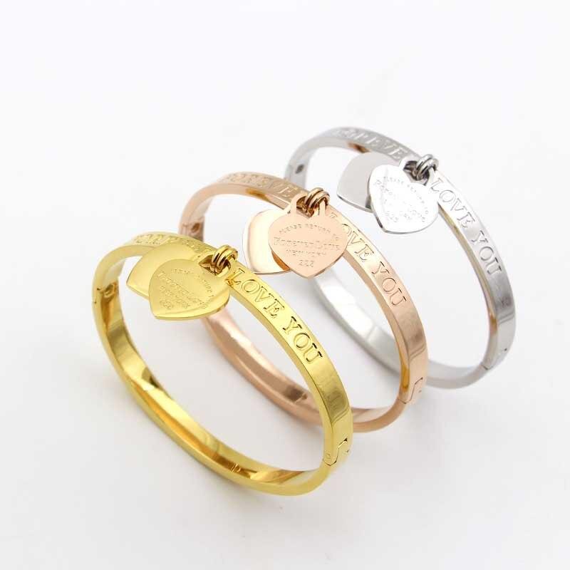 """Рождественские подарки """"вечно любить тебя"""" Двойные сердца манжеты браслеты, известный бренд дизайн из нержавеющей стали браслеты для женщи..."""