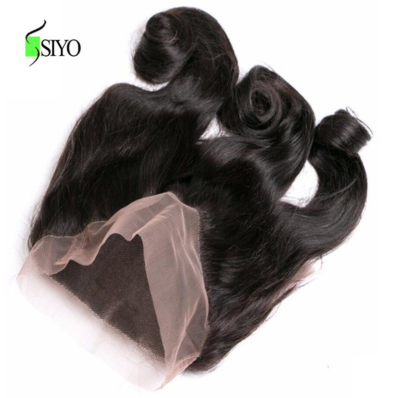 Siyo Hair Loose Wave Malaysian Hair 360 Lace Frontal Free Part Non Remy Human Hair Lace Closure 8-22inch 130% Density 1 Piece