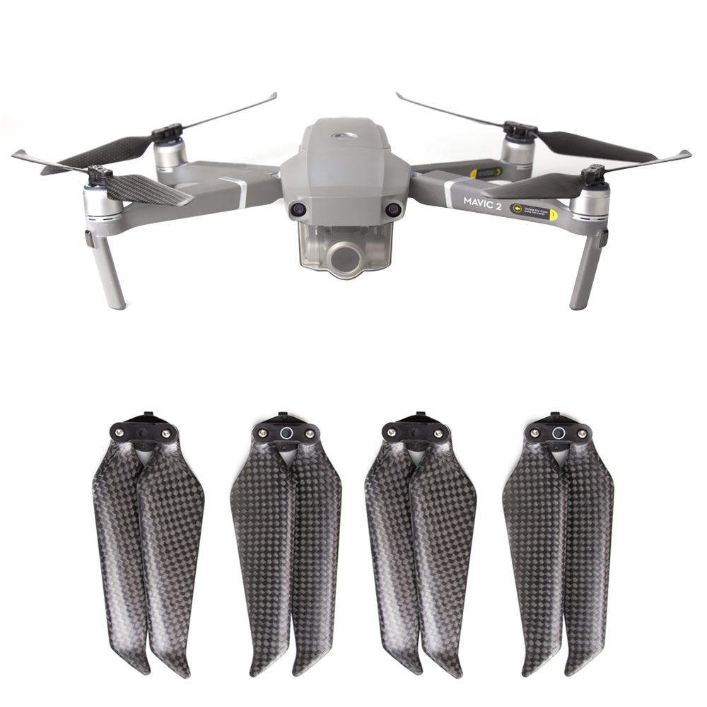 Carbon Fiber Propellers 8743F Low Noise Blades Foldable Quiet Props Quick Release Replacement For DJI Mavic 2 Pro / Zoom 2 Pairs