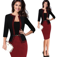 HGTE Womens Autumn Retro Faux Jacket One-Piece Polka Dot Contrast Patchwork Wear To Work Office Business Sheath Dress contrast bow embellished polka dot pencil dress