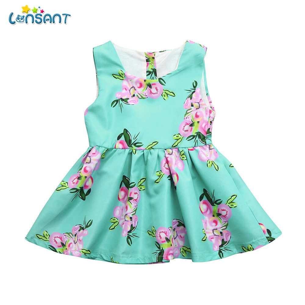 0101a368cae LONSANT New Arrival Summer Cute Baby Girls Infant Kids Blue Floral Print  Sundress Sleeveless Clothes Princess