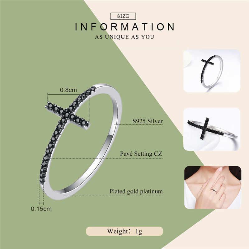 WOSTU 100% чистое серебро 925 пробы вера перстни в форме Креста с черным цирконием камень для женщин вечерние ювелирные изделия подарок DXR067