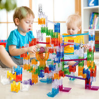 Maze Balls DIY Construction Marble Run Cubes Building Blocks Assemble Slide Blocks Track Hand Eye Coordination