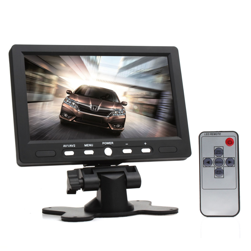 7 inch LCD HD 800*480 Resolution Car Monitor Rearview Screen HDMI VGA DVD Digital Display For Car Backup Camera +Remote Control