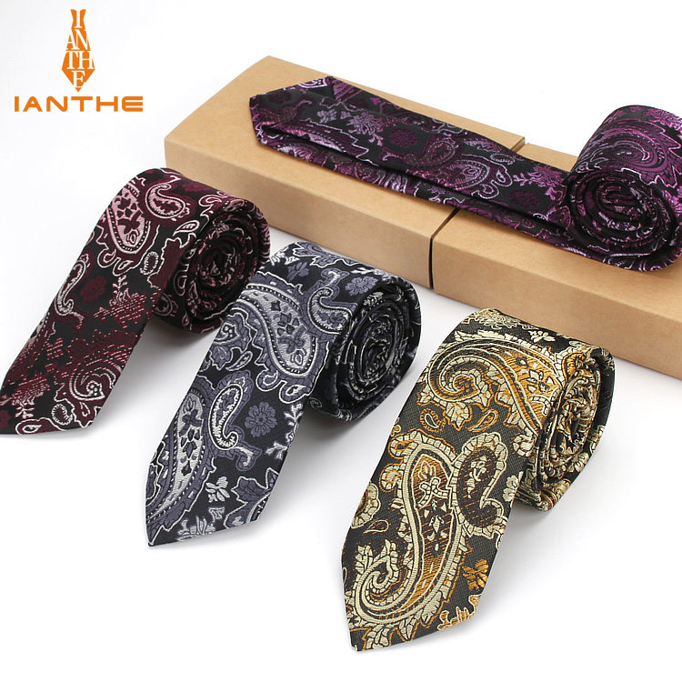 Fashion Mens Ties Narrow Neckties 6cm Classic Paisley Tie For Men Formal Business Wedding Suit Neckwear Jacquard Woven Neck Tie