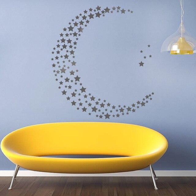 Silver Stars Pattern Vinyl Wall Art Decals Nursery Room Decoration ...