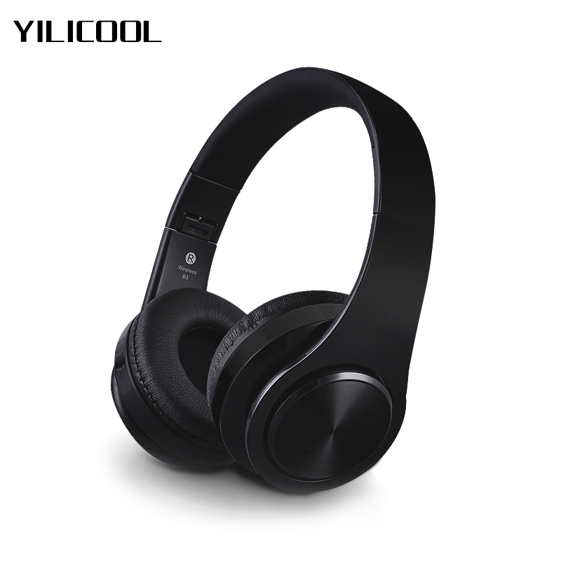 Wireless Bluetooth Headphones with Microphone Bass Earphones Stereo Audio Mp3 Player Headset Support TF Card for iPhone Xiaomi fasdga helmets headphones sport mp3 player wireless fm tf card black