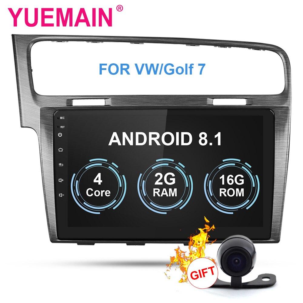 Lecteur multimédia Autoradio YUEMAIN pour VW/Volkswagen/Golf 7 2Din Android 8.1 Autoradio GPS Navigation OBD DVR WIFI caméra arrière
