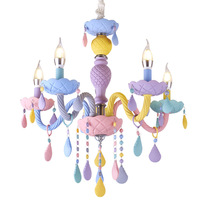 New macaron candle light crystal chandelier lamp fixture children's room bedroom lamp creative lighting color E14 chandelier