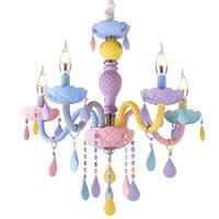 Novo macaron luz da vela lustre de cristal luminária quarto das crianças lâmpada iluminação criativa cor e14 lustre Luzes de pendentes     -