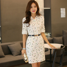 summer women dress spring and summer slim POLO collar printing dresses young girls white office dress plus size s-2xl 8015