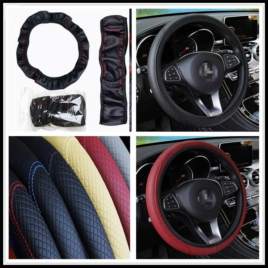 car 38cm auto <font><b>Steering</b></font> <font><b>wheel</b></font> Artificial Leather Braid Cover for <font><b>Peugeot</b></font> 206 307 406 407 <font><b>207</b></font> 208 308 508 2008 3008 4008 image