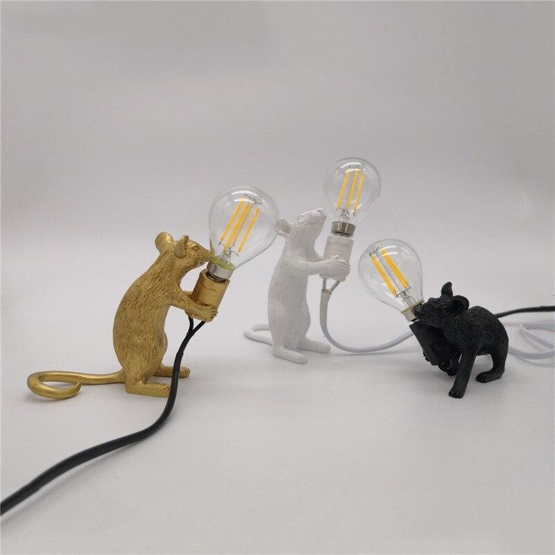 Nordic resina animal rato rato lâmpada de mesa pequeno mini mouse bonito led luzes da noite decoração casa luminárias cabeceira luminária
