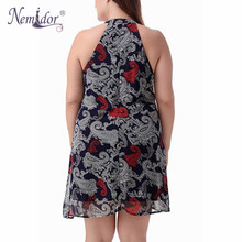 Nemidor Sleeveless Chiffon Knee Length Vintage Print Dress