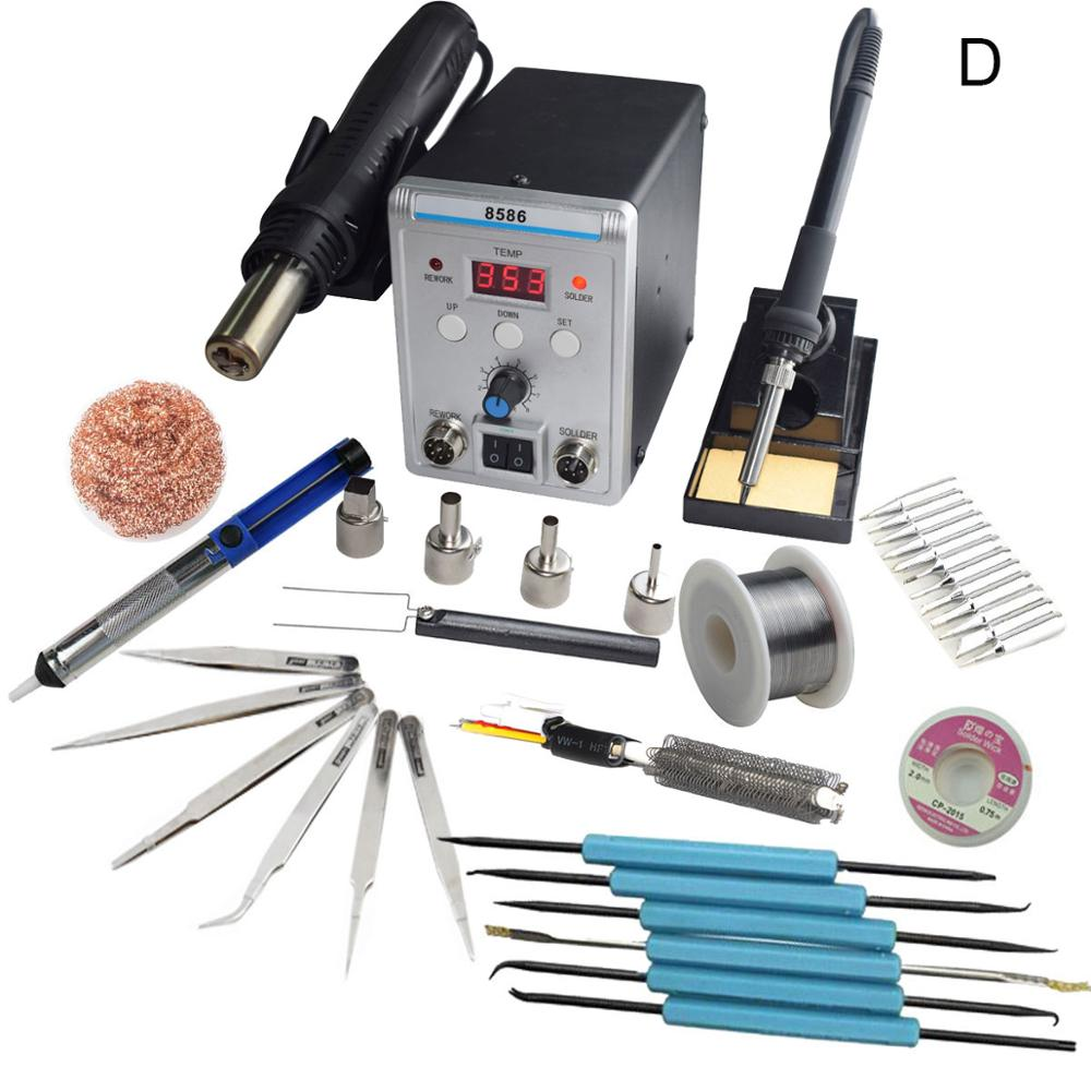 New Eruntop 8586 Double Digital Display  Electric Soldering Irons +DIY Hot Air Gun Better SMD Rework Station
