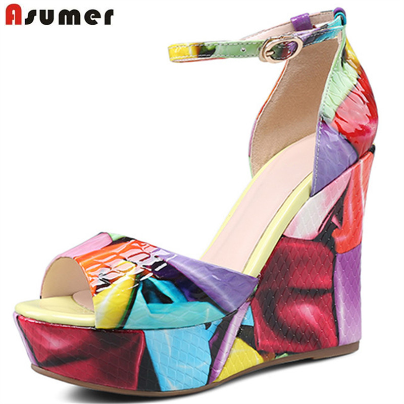 ASUMER 2018 fashion summer mew shoes woman peep toe buckle elegant sandals women platform wedges shoes genuine leather shoes xiuningyan women sandals 2018 new fashion casual shoes comfortable wedges sandals platform genuine leather woman summer shoes