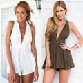 Sexy crossed backless chiffon jumpsuit women sexy romper Deep V-neck shorts jumpsuit women fashion overalls free shipping