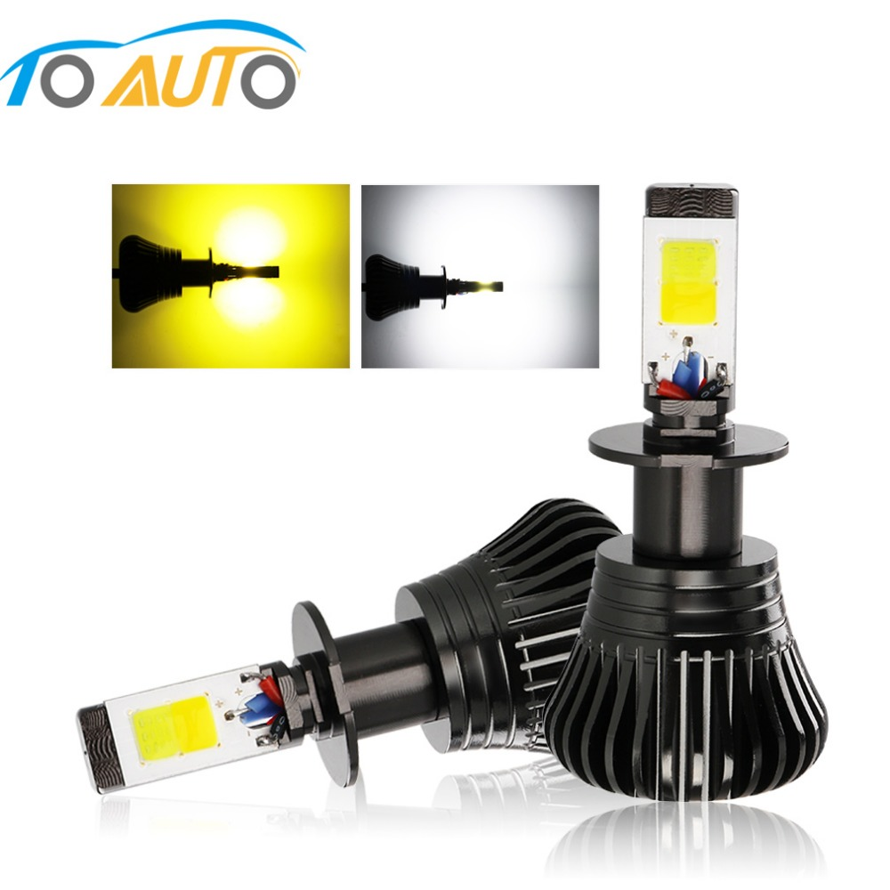 2pcs H1 H3 H7 H8 H11 9005 HB3 9006 HB4 H27 880 881 LED Bulbs Fog Light  Dual Color DRL Driving Lamp White Yellow 12V Auto Lamp|Car Fog Lamp| |  - title=
