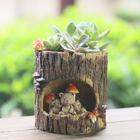 Planters Cute Cartoon Story Imitation Wood Meaty Plant Tree Hole Rural Personality Pot In Balcony Potted