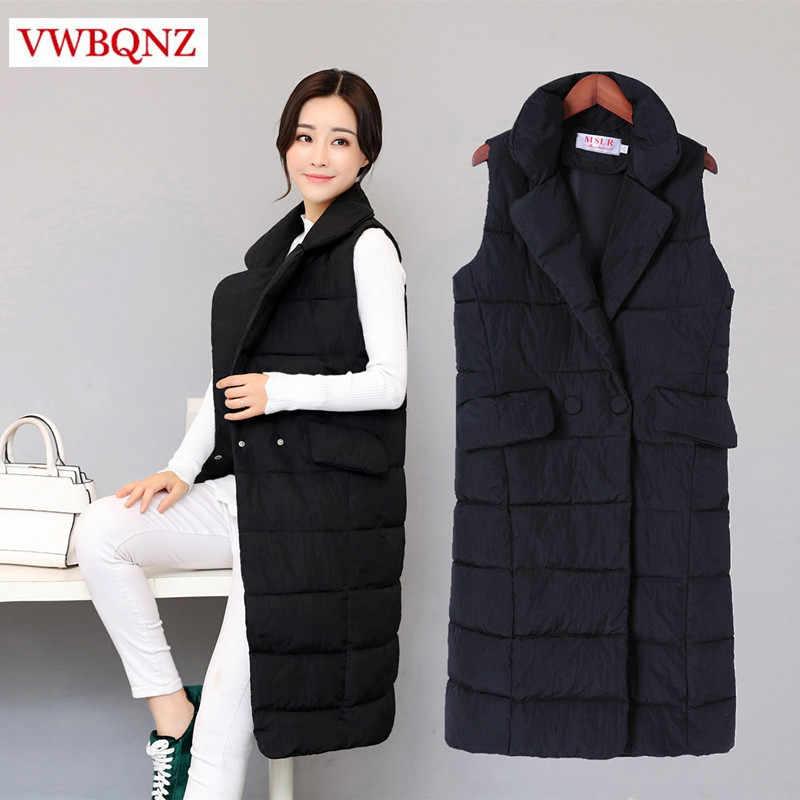 Schwarz wein rot warm baumwolle weste jacke Frauen 2018 Koreanische anzug kragen ärmellose lange mantel casual große größe weibliche Weste 4XL