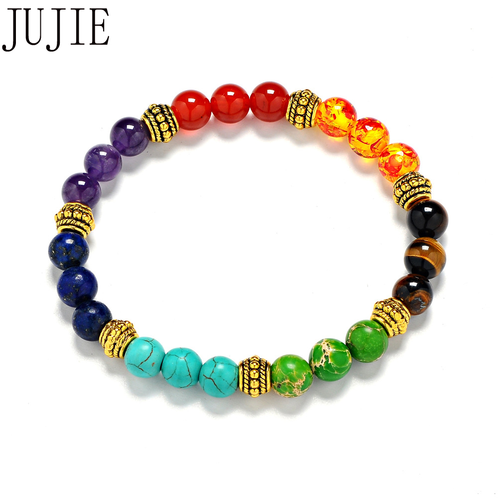 JUJIE 8mm Multicolor Natural Stone Bracelet For Women Yoga Energy Bracelet Fashion Rainbow 7 chakras Circle Jewelry Gifts Man