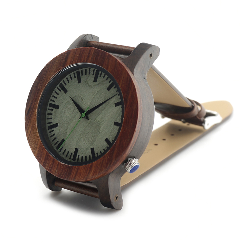 BOBO BIRD I06 Wooden Big Watch Brown Soft Band Green Wood Dial Face Mens Watches Top