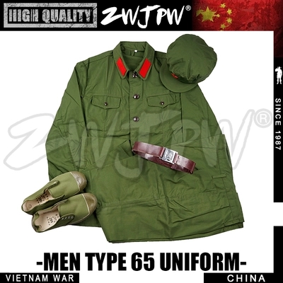 WW2 Chinese Army Type 65 Cadres Uniform Cotton Hat with five star badge & coat & pants Replica CN/50106 (four pockets) red star pattern flat top cotton fabric cap hat army green