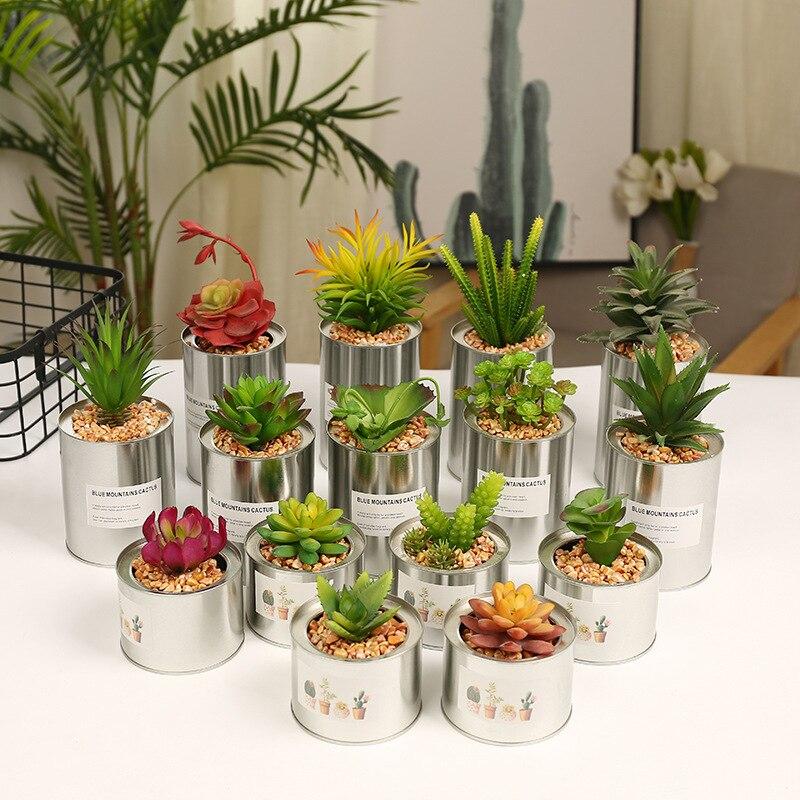 3pcs/lot L/M/S Metal Artificial Succulents Flower Set Metal Flower Pot Decorative New Flower Set Home & Store Window Decoration