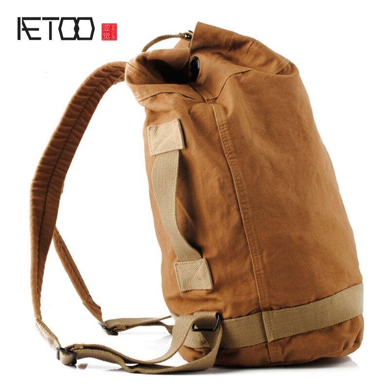 AETOO Seven color cotton brand Korean students bucket bag cylinder type simple bag neutral backpack