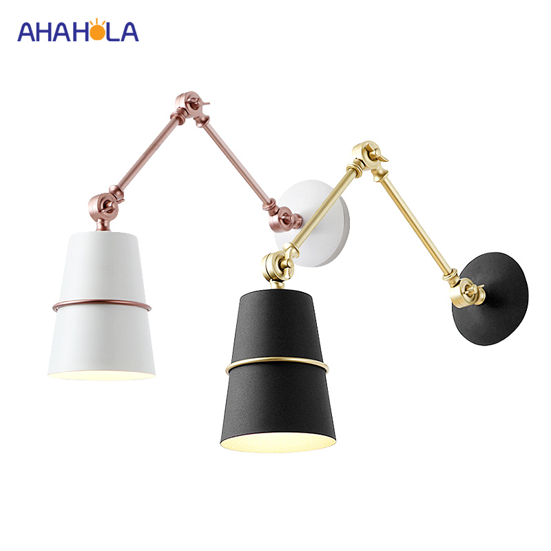 220v Led Modern Wall Light Aluminium Swing Arm Black Wall Lamp White Nordic Pared Led Moderno Wall Sconce Lamp Lights