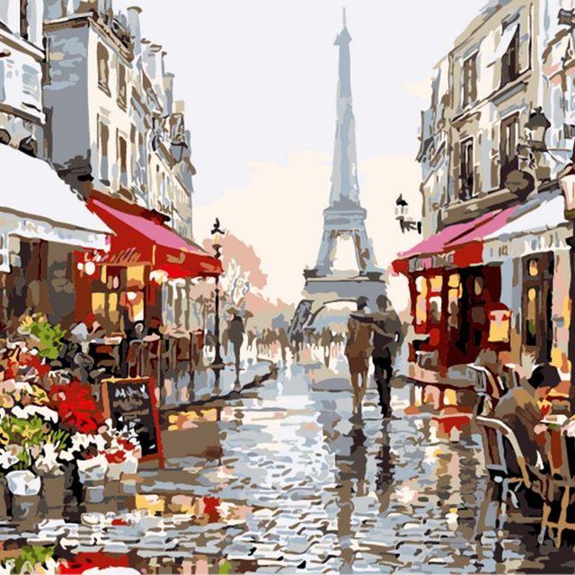 40*50 cm pintura by numbers diy pintura a óleo paris rua