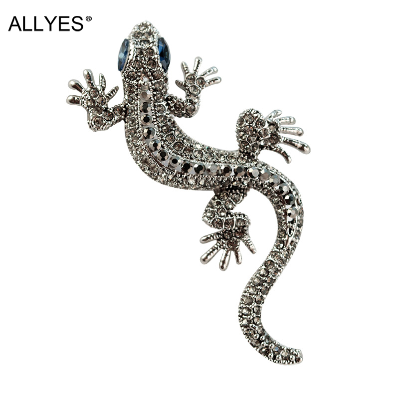 ALLYES Retro Crystal Micro-mosaiced Lizard Brooches For Women & Men Vintage Clothes Costume Dress Large Animal Brooch Jewelry