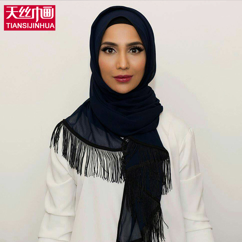 Muslim Female Islam Silk Scarf hijabs Shawls women ring