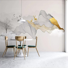 Abstract ink line smoke landscape artistic elk background wall professional manufacture mural photo wallpaper