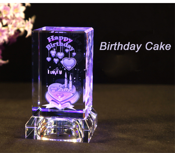 Happy Birthday Gift 3D Laser Crystal Birthday Cake Crystal
