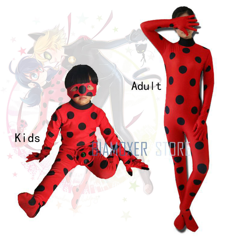 The Miraculous Ladybug Cosplay Costumes Wigs Adult Children Junpsuit Lady Bug Marinette Red Leotards With Bags Masks