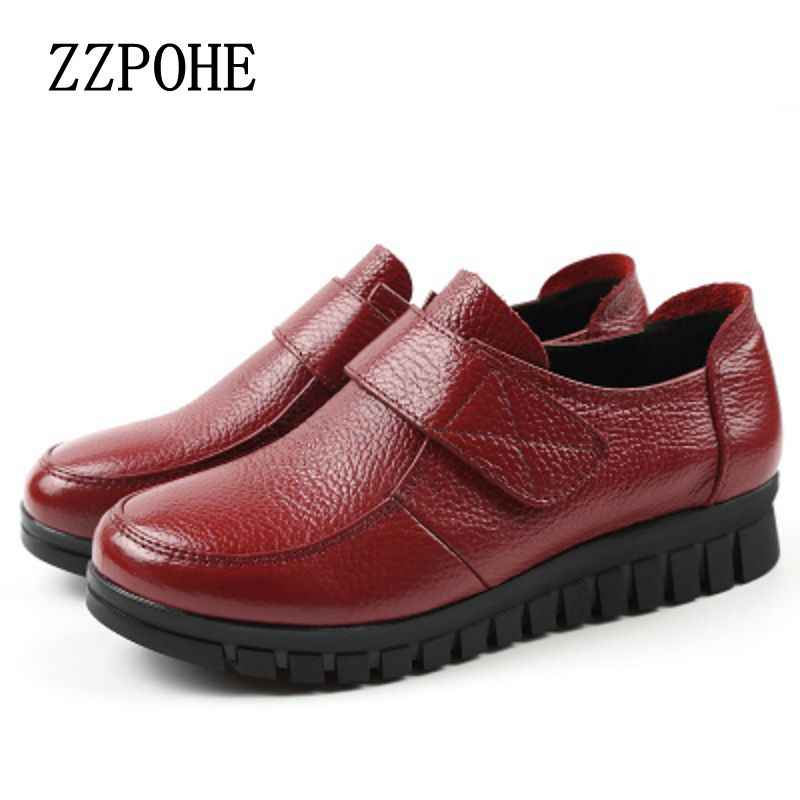 2641b5471 ZZPOHE/весенне-осенние новые кожаные тонкие туфли для мам среднего  возраста, мягкие удобные