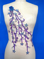 A108 Hand made dazzling purple/clear AB colour sew on Rhinestones applique Peacock Shape crystals trim patches 43*22cm dress