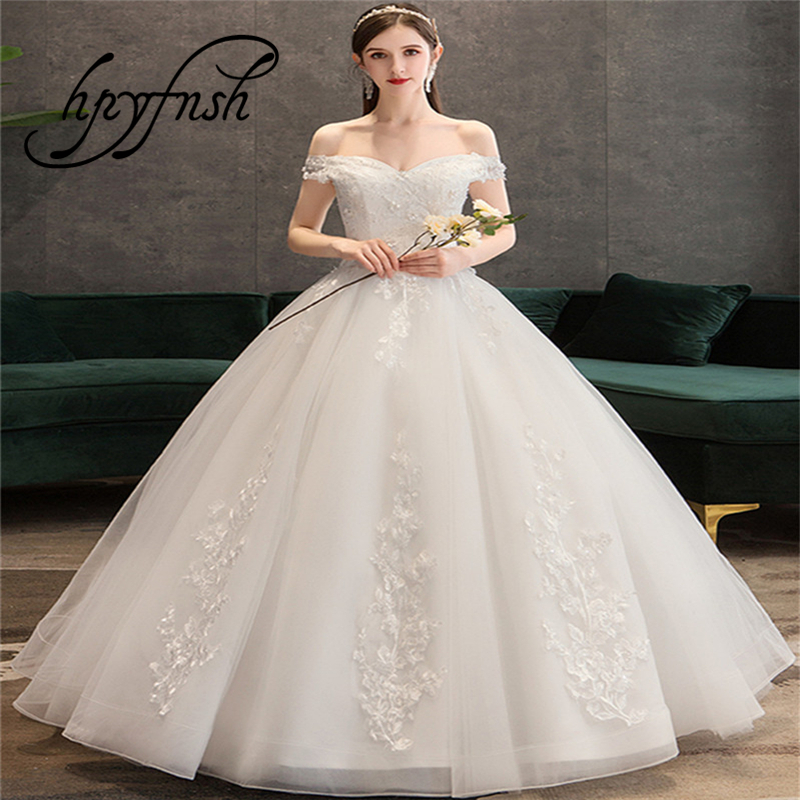 Plus Size Lace Flowers Peals Wedding Dresses Simple Elegant Wedding Gowns Bride Dress Boda robe de