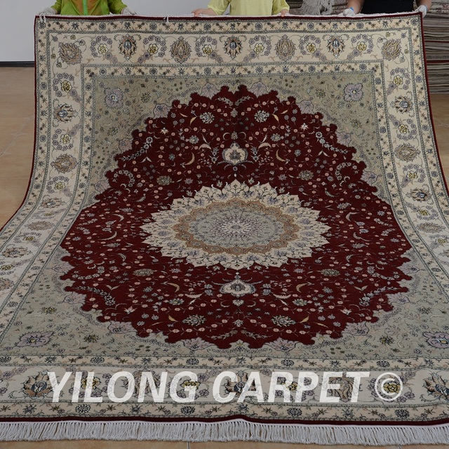 Yilong 8 X10 Handmade Floor Wool Carpets Red Persian Exquisite Silk Area Rugs