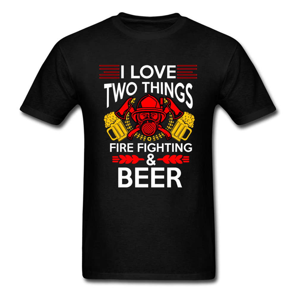 Firefighter T Shirt Men Tshirt Funny Tops FIRE FIGHTING AND BEER T-shirt No Fade Tees 100% Cotton Streetwear Father Day Gift